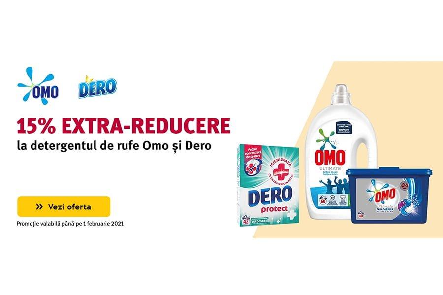 Cod voucher Altex - 15% extra reducere la detergentul de rufe Omo si Dero