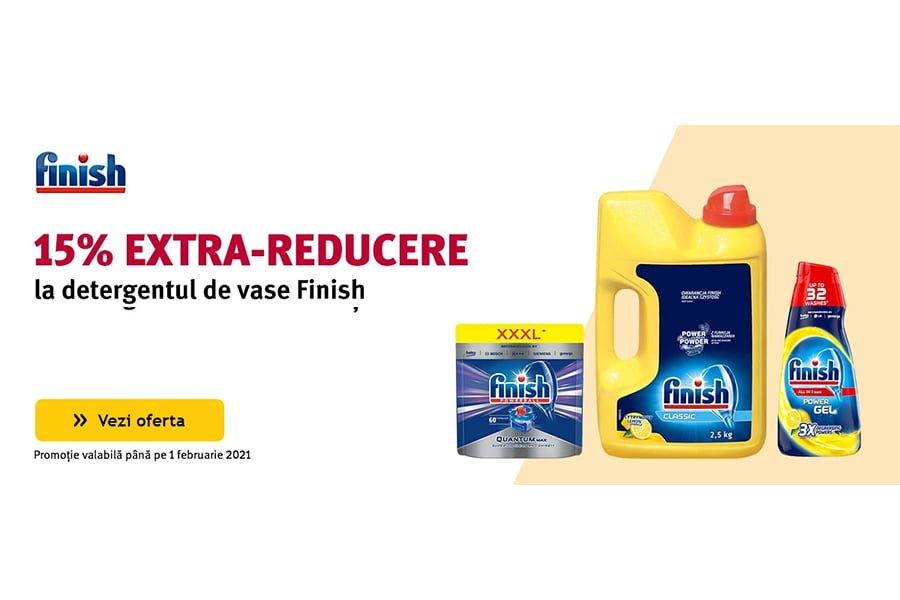 Cod voucher Altex - 15% extra reducere la detergentul de vase Finish