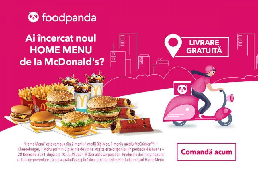 Oferta foodpanda - livrare gratuita la Home Menu de la McDonald's