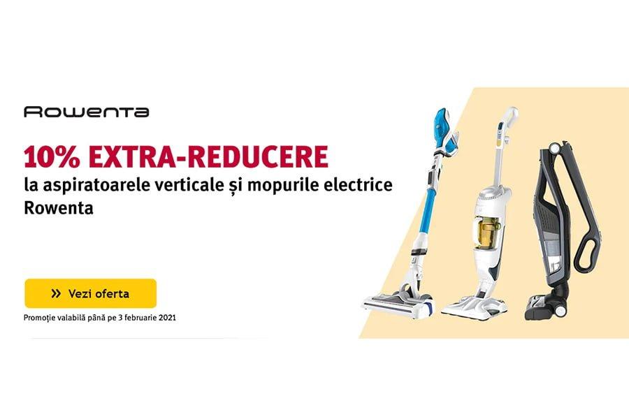 Cod reducere Altex - 10% extra reducere la aspiratoarele verticale si mopurile electrice Rowenta