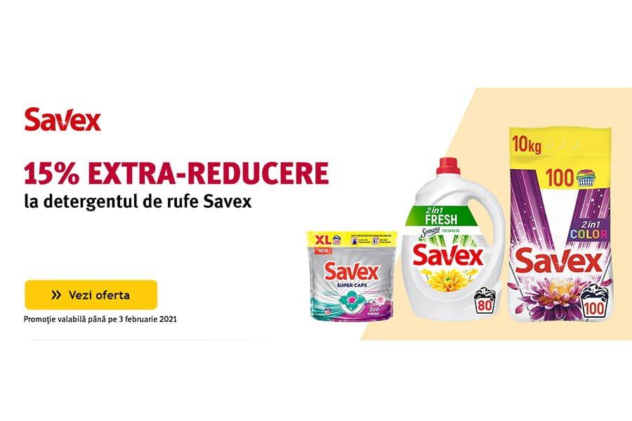 Cod reducere Altex - 15% extra reducere la detergentul de rufe Savex